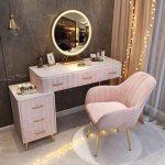 tocador hollywood silla acolchada rosa